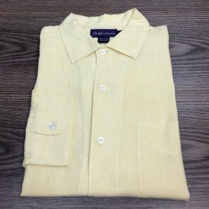 Ralph Lauren Purple Label Yellow Linen Shirt L
